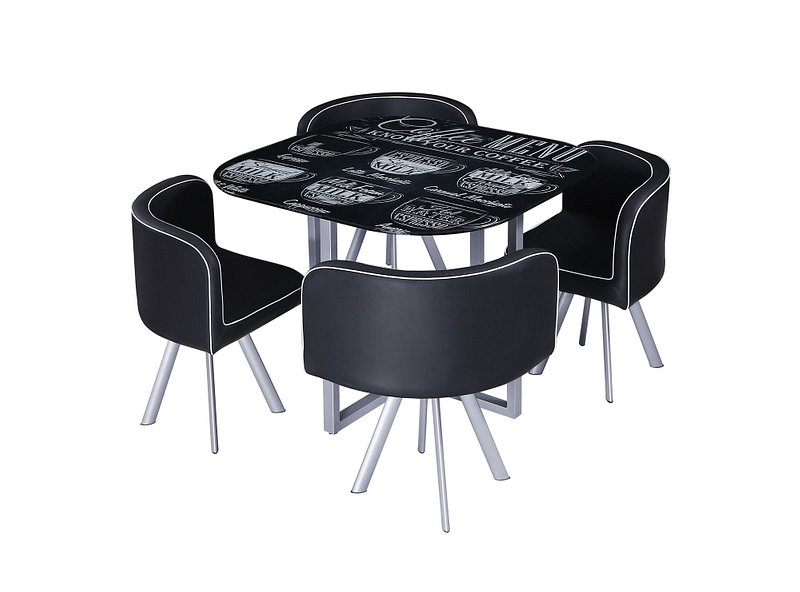 Comedor 4 sillas Coffee negro M+Design - Easy.cl